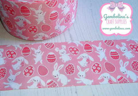 "3"" 75mm Pink Eggs Bunnies Easter Spring Grosgrain Ribbon Bow Making Gembolina's Crafts"