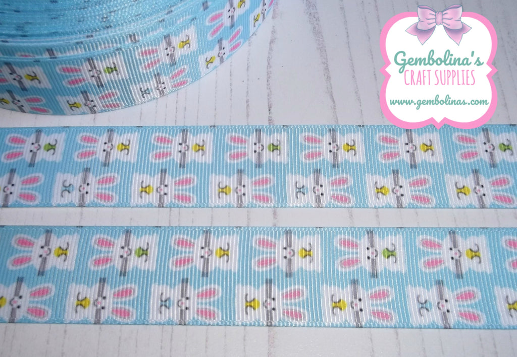 "1"" 25mm Bunnies On Blue Spring Easter Print Grosgrain Ribbon Bow Making Gembolina's Crafts"