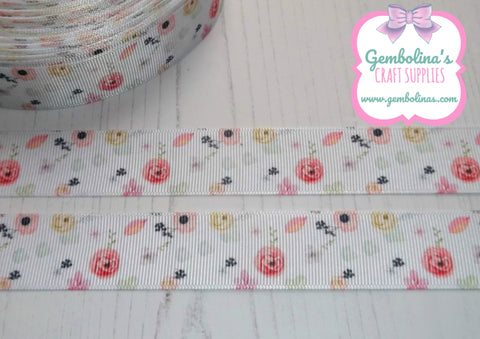 "1"" 25mm Floral Spring Flowers Summer Print Grosgrain Ribbon Bow Making Gembolina's Crafts"