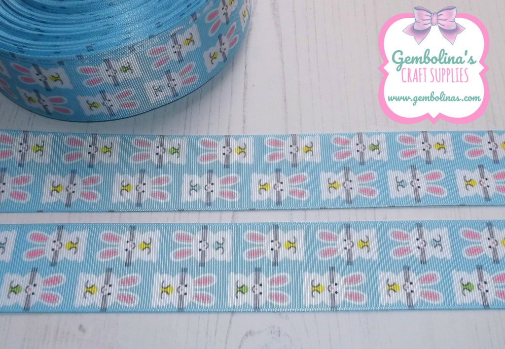 "1.5"" 38mm Bunnies On Blue Spring Easter Print Grosgrain Ribbon Bow Making Gembolina's Crafts"