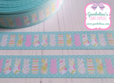 "1"" 25mm Polka Bunnies Spring Easter Print Grosgrain Ribbon Bow Making Gembolina's Crafts"
