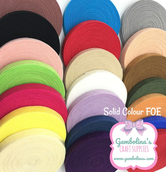 Solid Colour Plain Foldover Elastic 5/8 FOE Headband Bow Making Gembolina's Crafts