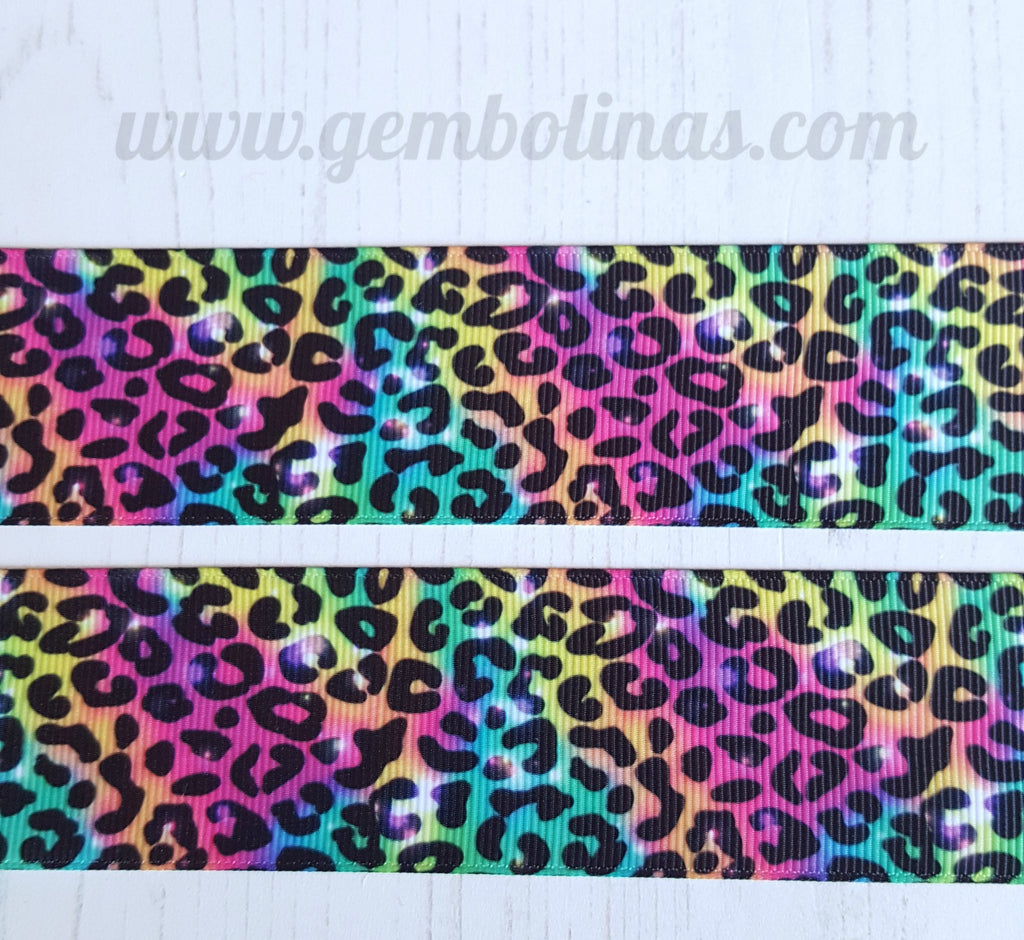 "1.5"" 38mm Bright Leopard Printed Grosgrain Ribbon Gembolina's Crafts"
