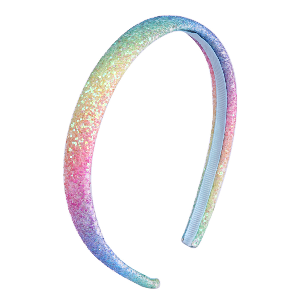 Pastel Rainbow Glitter Covered Lined Headband Alice Band Gembolina's Crafts Hardware Bow Making Accessory Hair Accessories