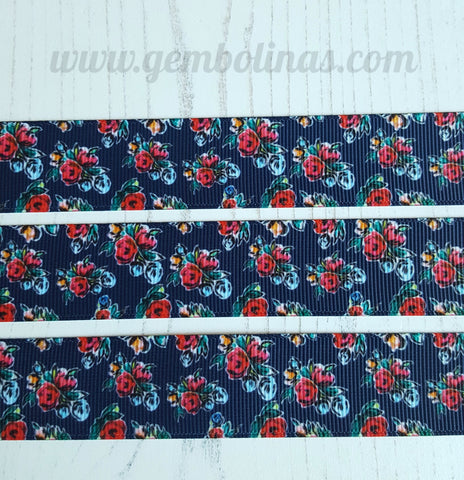 "1"" 25mm Navy Floral Retro Vintage Pinup Printed Grosgrain Ribbon Gembolina's Crafts"