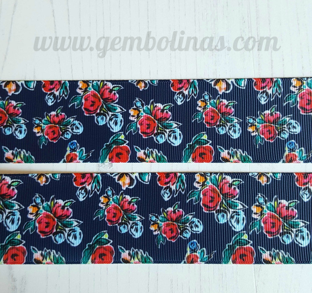 "1.5"" 38mm Navy Floral Retro Vintage Pinup Printed Grosgrain Ribbon Gembolina's Crafts"