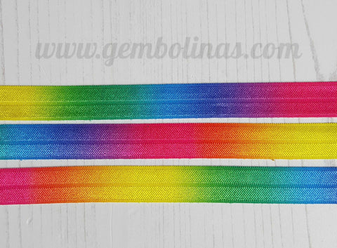 5/8 Rainbow Ombré Gradient Printed FOE Fold Over Elastic Headband Stretch Bow Making DIY Gembolina's Crafts