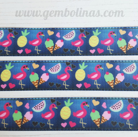 "1"" 25mm Summer Denim Printed Grosgrain Ribbon Gembolina's Crafts"