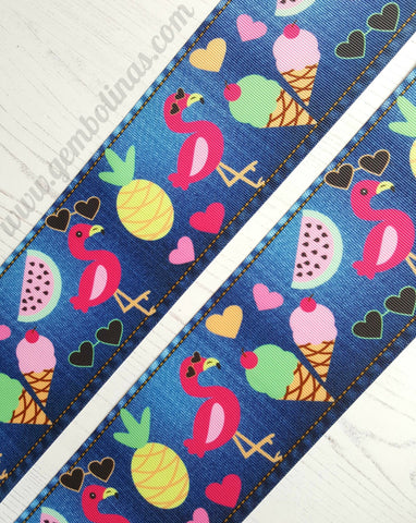 "3"" 75mm Summer Denim Printed Grosgrain Ribbon Gembolina's Crafts"