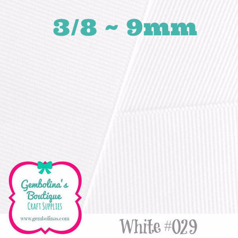 White 09mm Solid Grosgrain