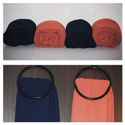 Premium Chiffon | Maxi (Deep Navy & Orange)