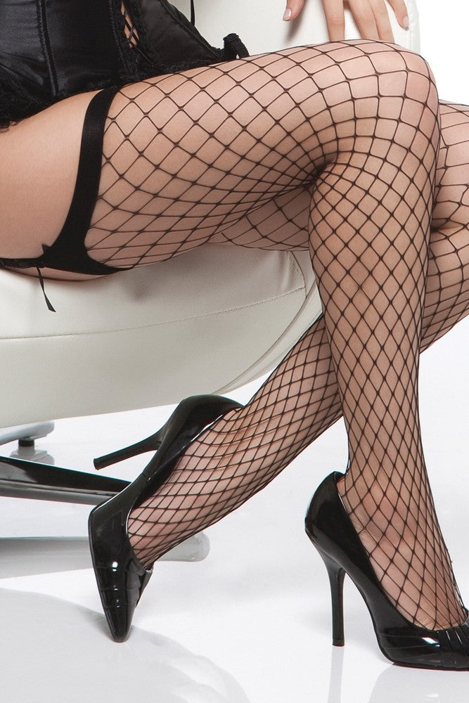 Black Diamond Net Thigh High Stockings in OS