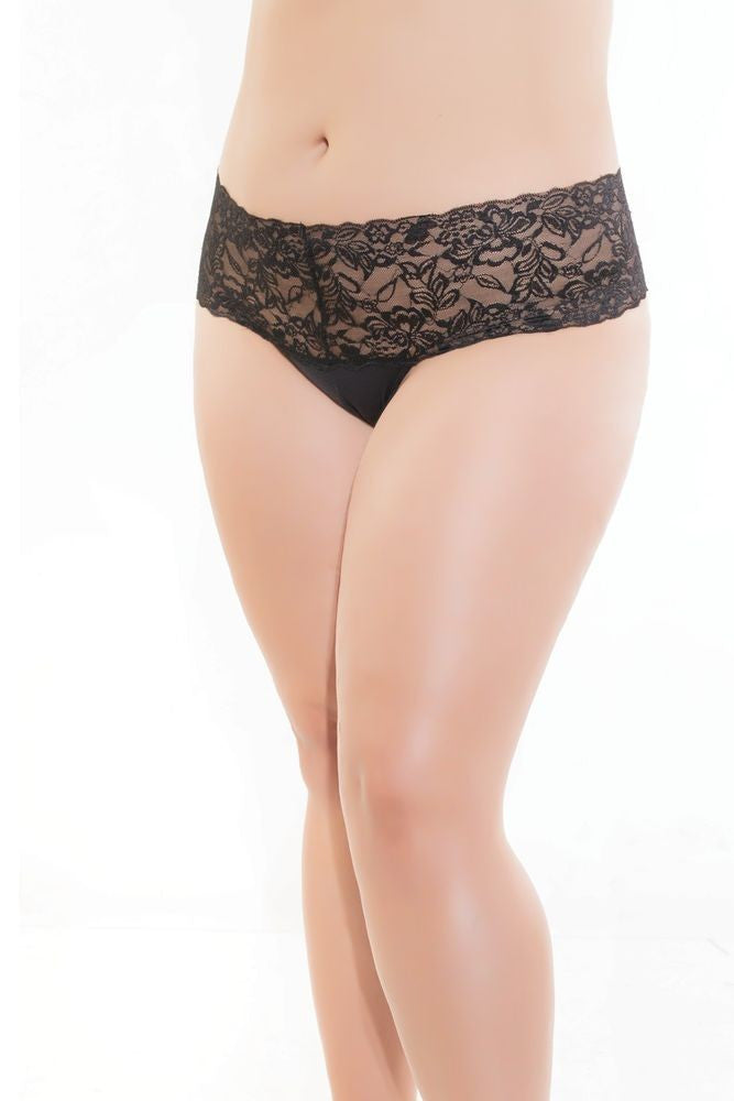 Black Lace & Microfiber High Waist Thong in OSXL