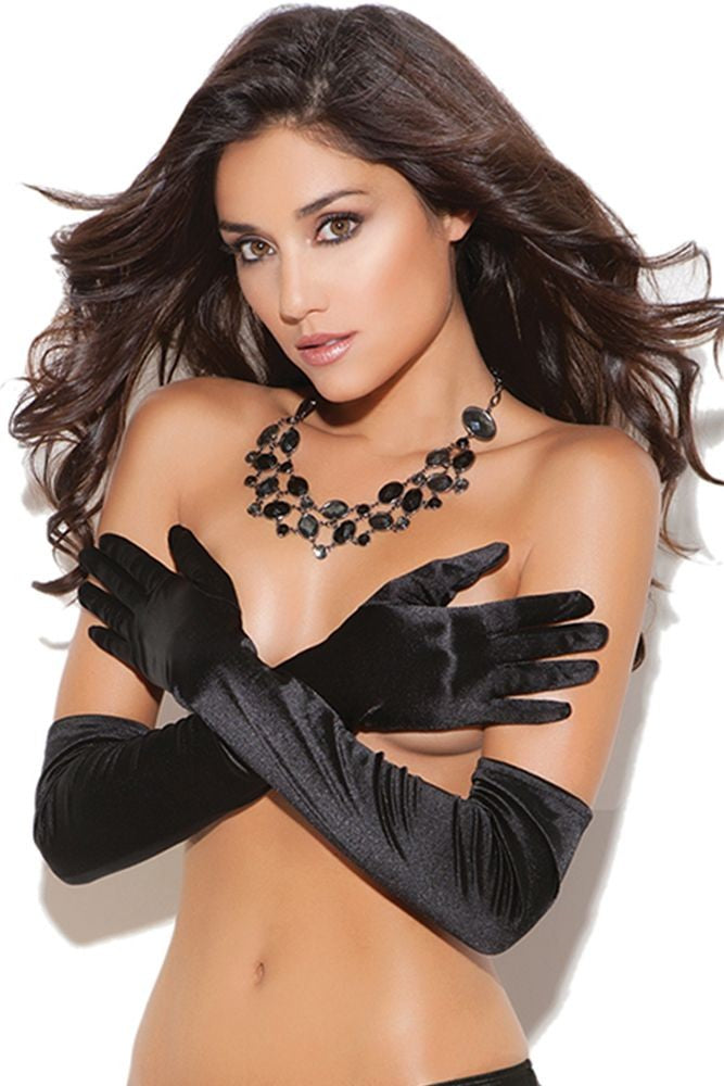 Black Debutante Satin Gloves