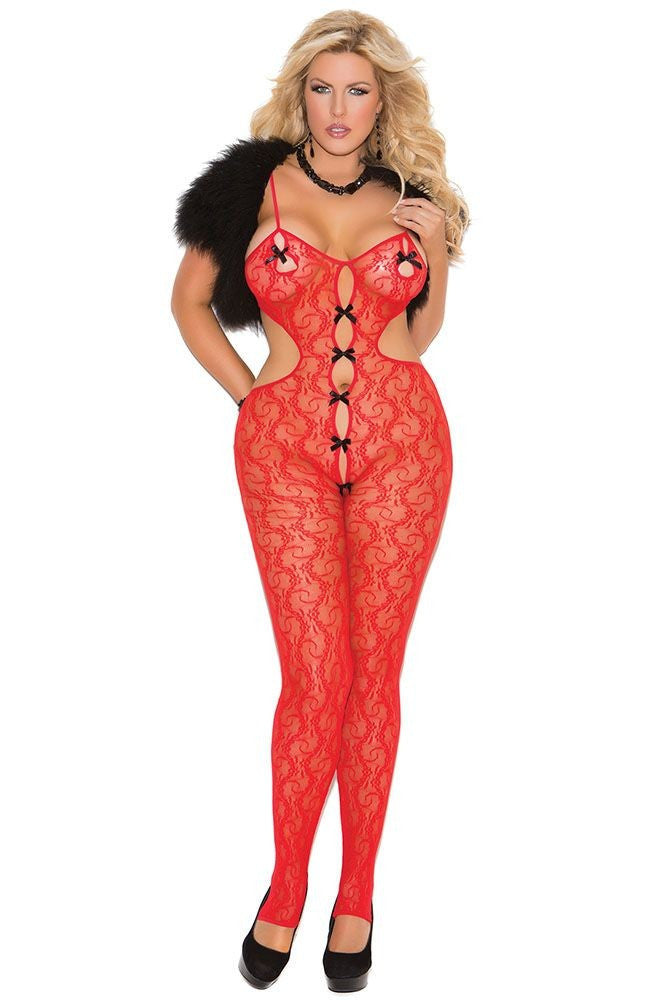 Red Floral Lace Bodystocking with Bow Details in OSXL