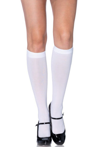 Nylon Knee Highs in White