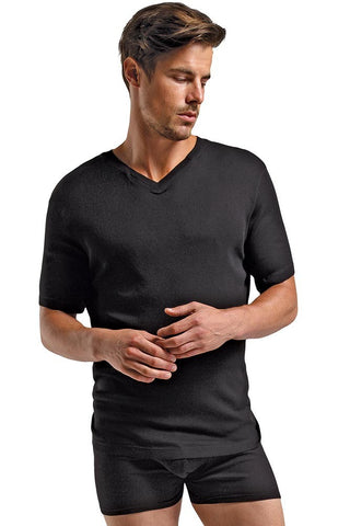 Soft Black Rib Knit T-Shirt in L