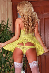 Buttercup Yellow Babydoll and Cutout Panty in L/XL