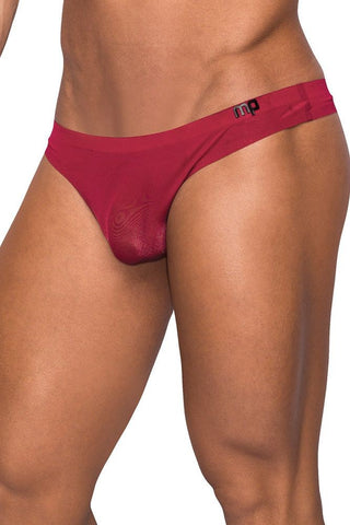 Seamless Red Thong with Sheer Pouch in S/M