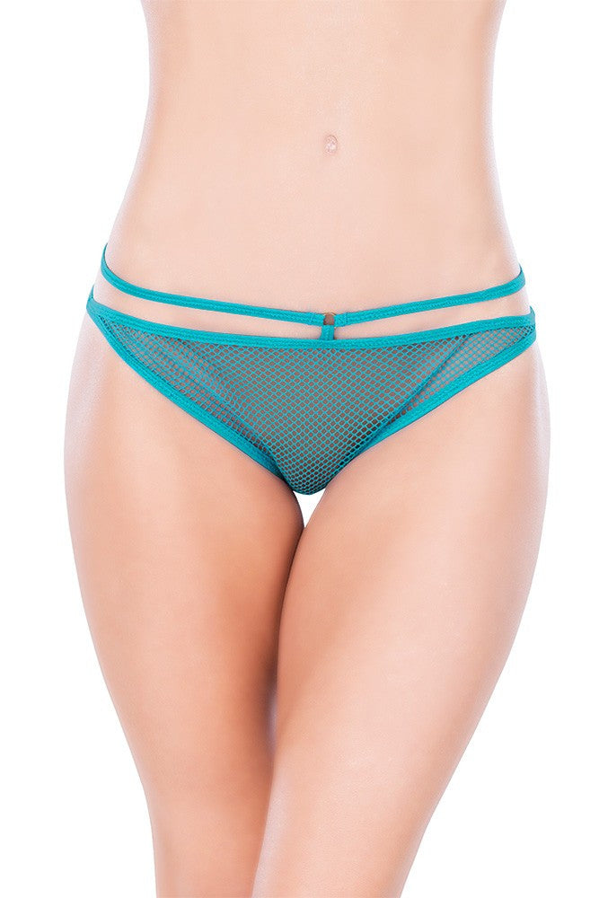 Teal Open Back Crotchless Fishnet Panty in OS