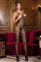 Black Floral Lace Bodystocking in OS