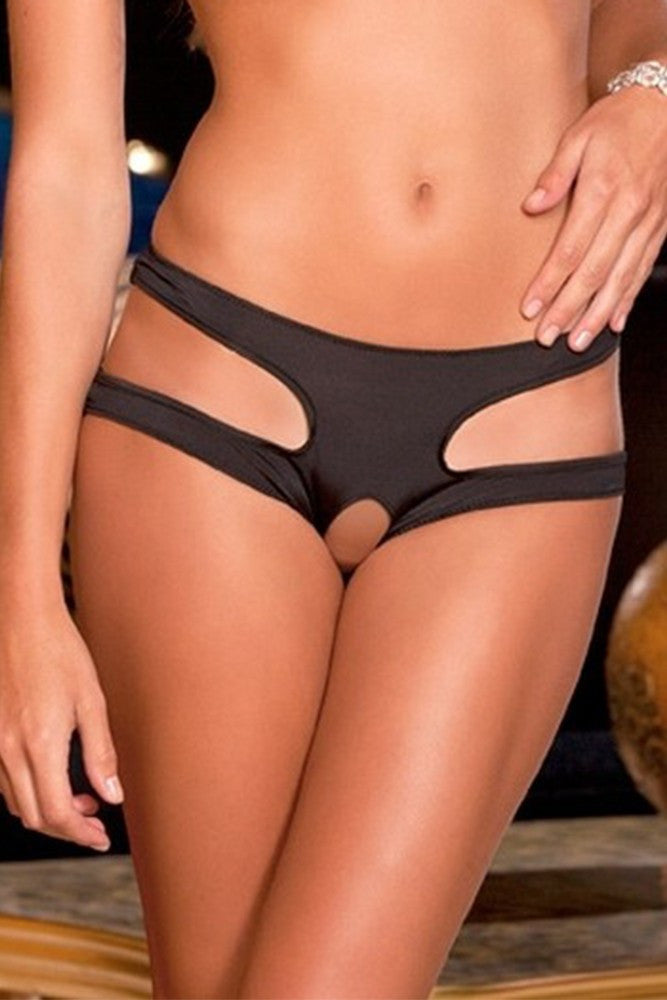 Cut It Out Crotchless Panty Black in M/L