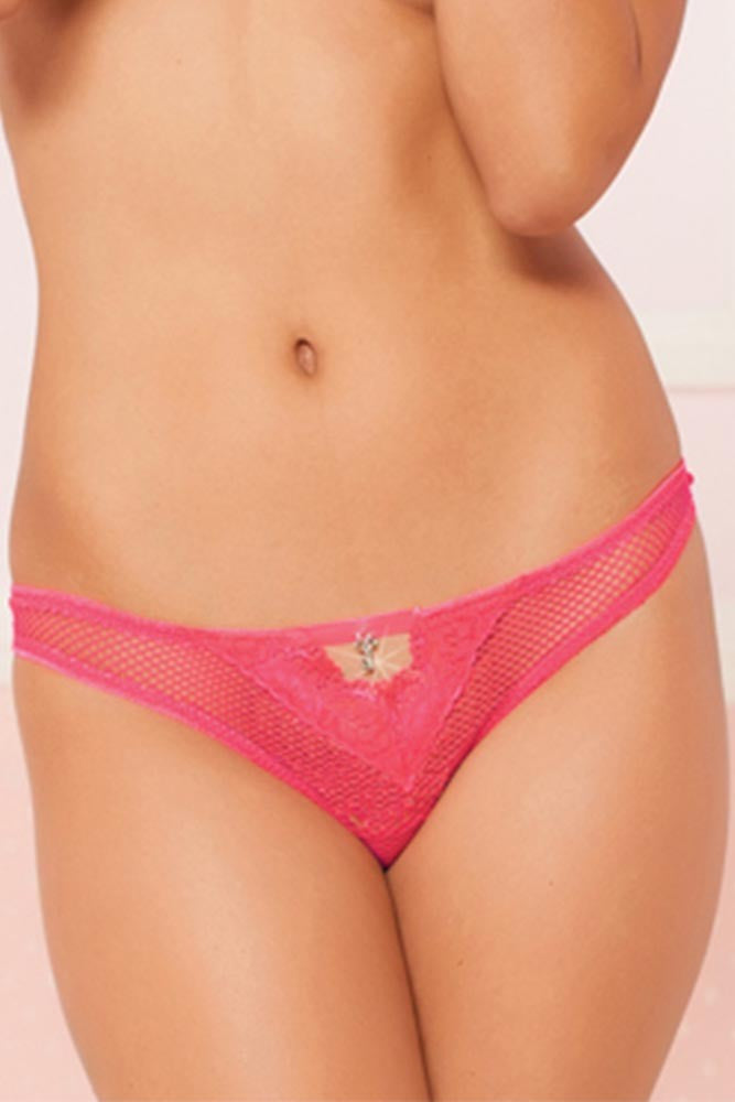 Hot Pink Fishnet and Lace Thong in M