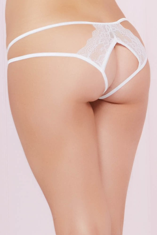 Bright White Floral Lace Open Back Panty in M