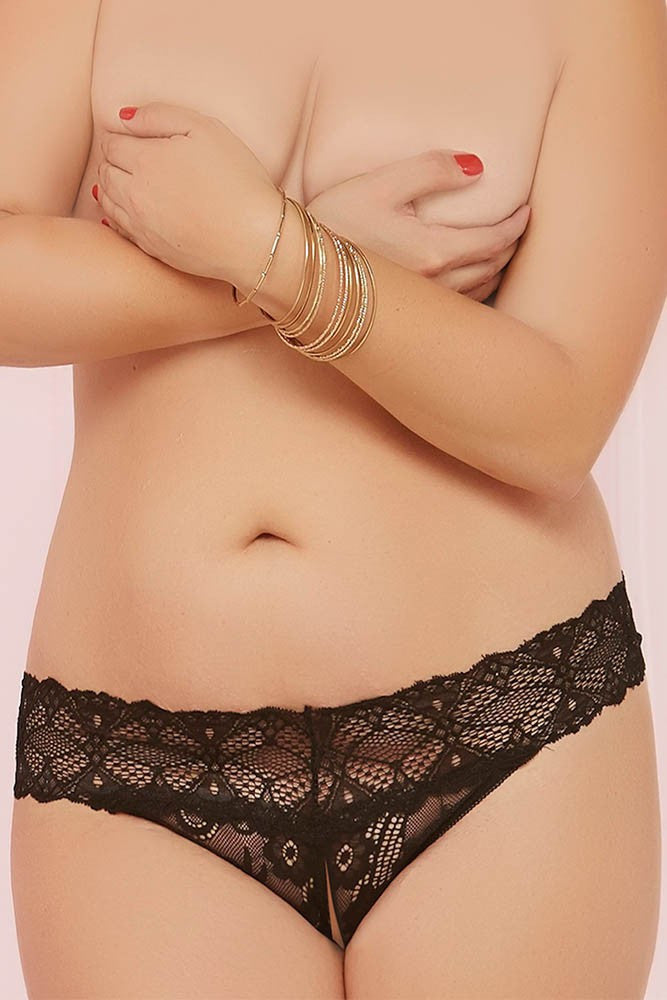 Black Crotched Lace Split Crotch Thong in OSXL
