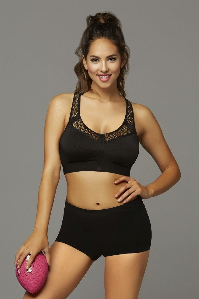 Black T-Back Sports Bra with Stow and Go Pocket in L