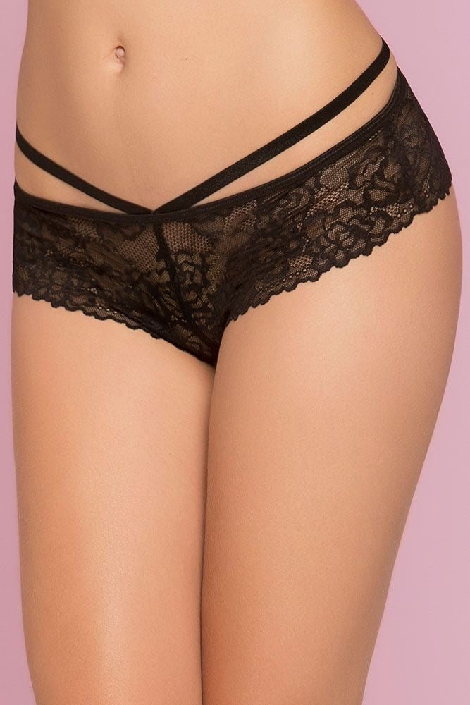 Black Rose Lace Panty in M