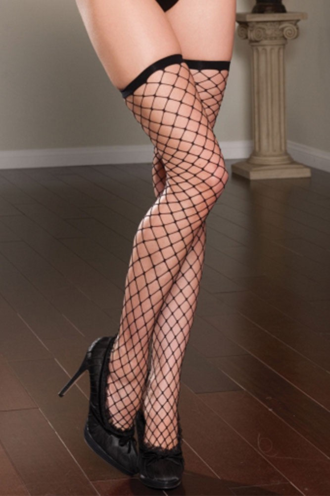 Black Fence-Net Thigh Highs in OS