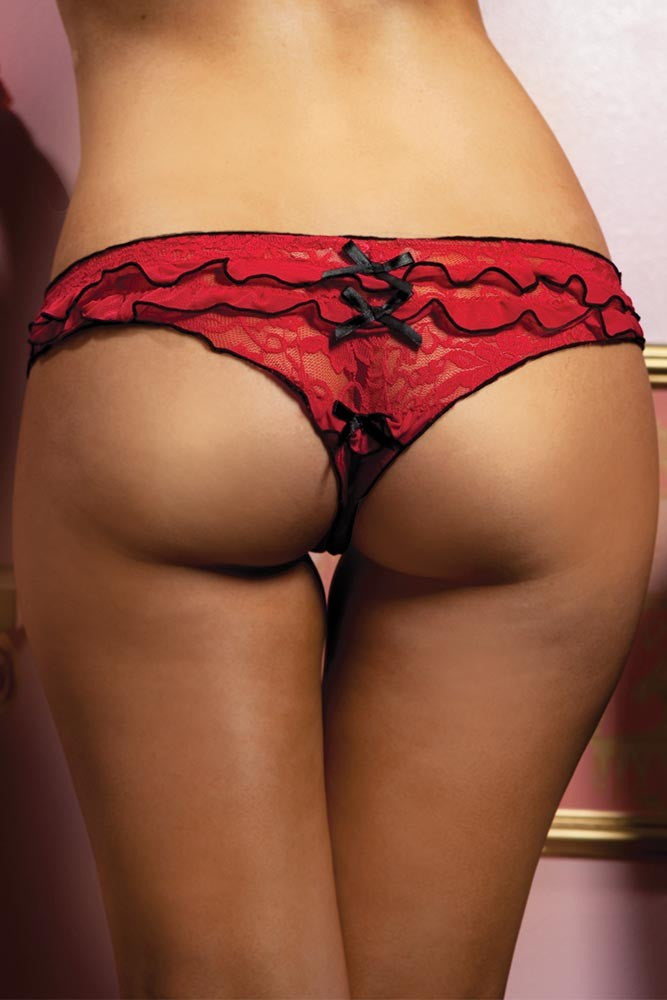 Crimson Lace Ruffle Thong in L