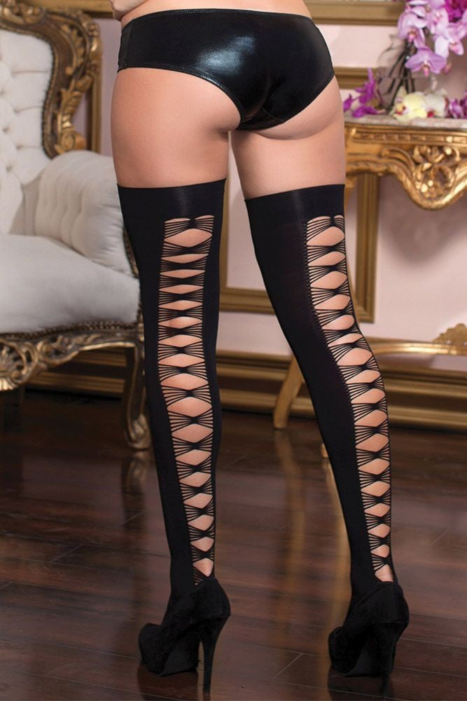 Criss Cross Shredded Thigh Highs in OS