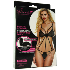Strappy Black Mesh Remote Vibrating Teddy in OS