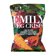 EMILY VEG CRISPS | crunchy sweet potato, carrot & beetroot