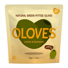 OLOVES | lemon rosemary natural green pitted olives (V)
