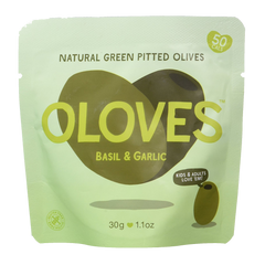 OLOVES | basil & garlic natural green pitted olives