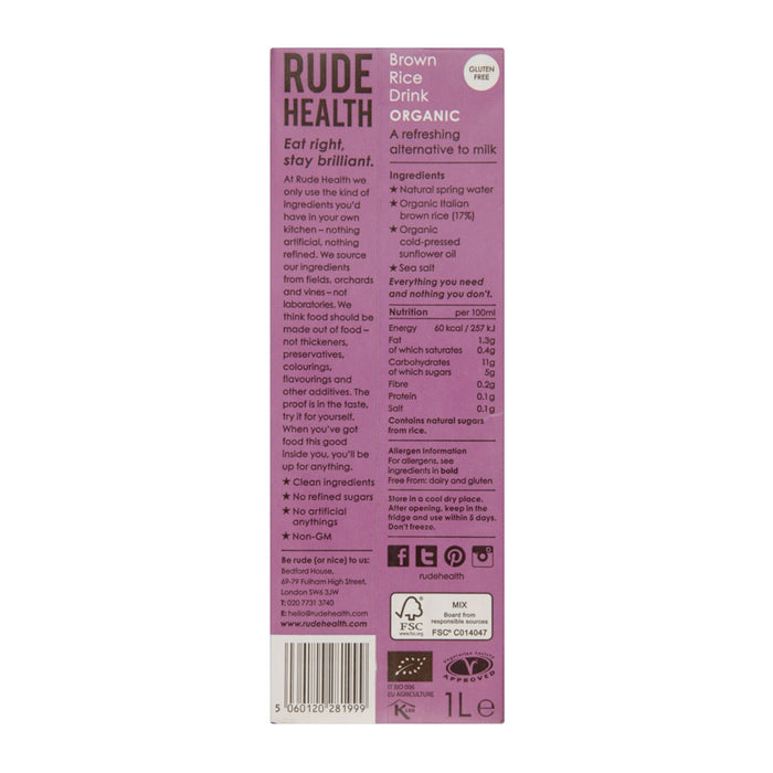 Rude Health - Brown Rice Drink 1L