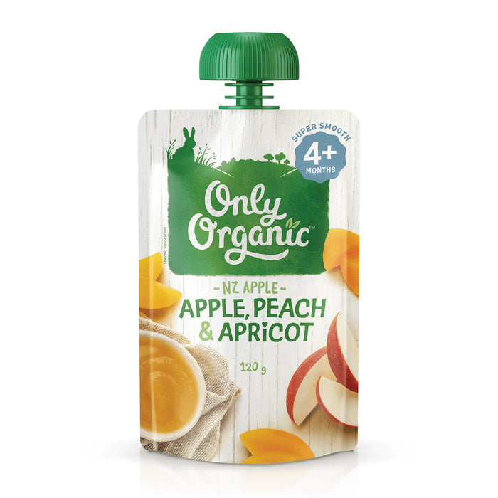 Only Organic Apple, Peach & Apricot 120g (4+ mos)