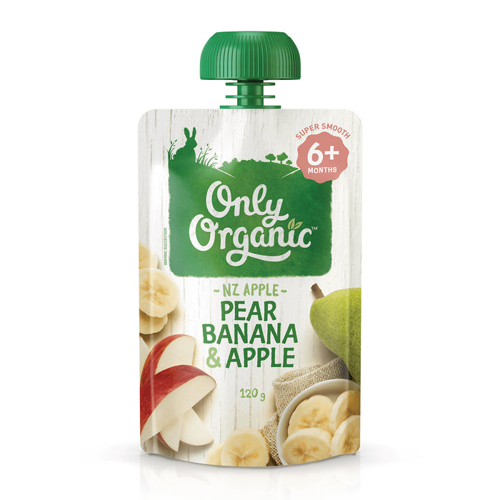 Only Organic Pear, Banana & Apple 120g (6+ mos)