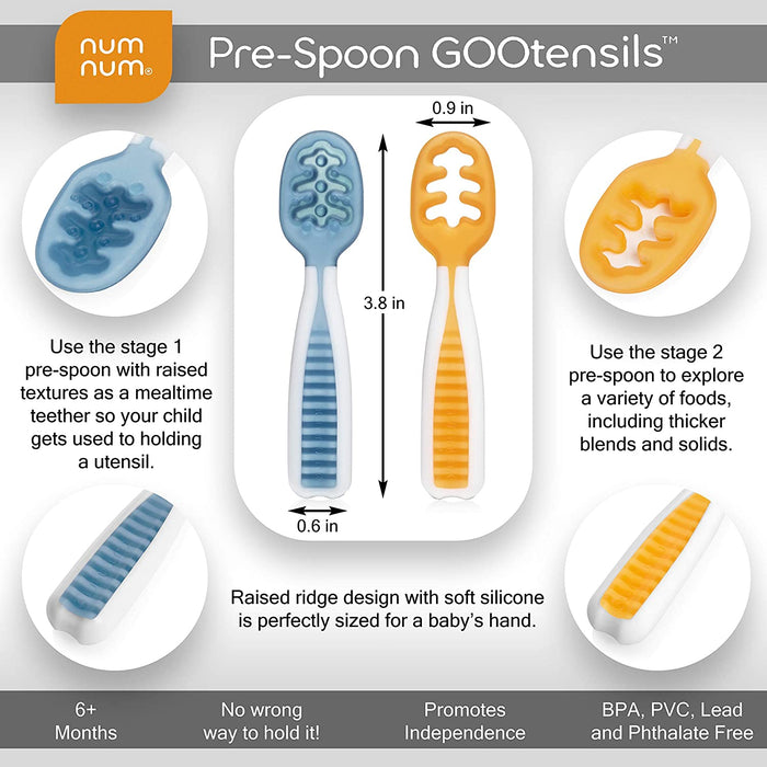 GOOtensil Self-feeding Pre-spoons (Set of 2) - Blue & Orange
