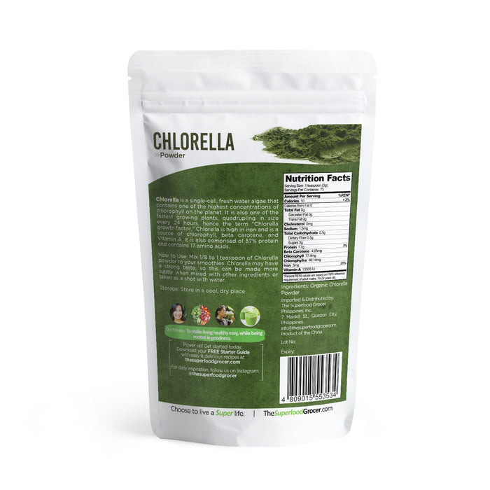 The Superfood Grocer Organic Chlorella Powder 227g (1/2 lbs)