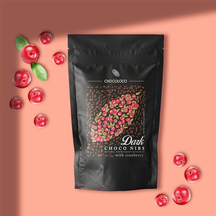 Chocoloco Dark Choco Nibs with Cranberry 127g