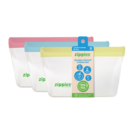 Zippies Color Reusable Stand Up Storage Bag Medium 16oz