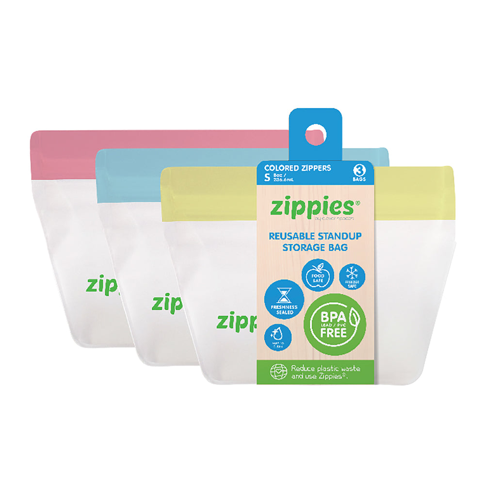Zippies Reusable Stand Up Colored Storage Bag Small 8oz