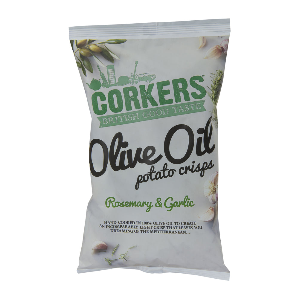 Corkers Rosemary and Garlic Onion Olive Oil Potato Crisps 130g