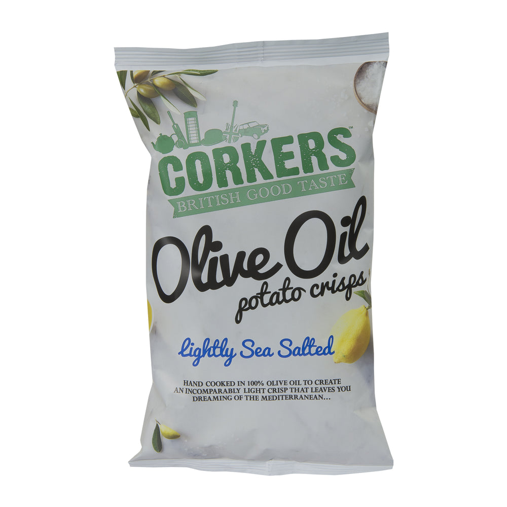 Corkers Lightly Sea Salt Olive Oil Potato Crisps 130g