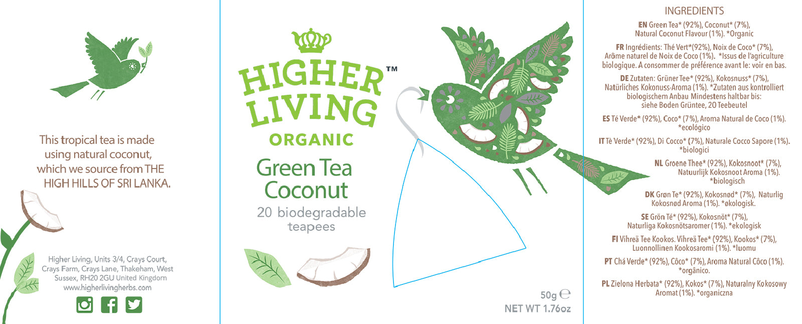 Higher Living Organic Green Tea Coconut (20 teapee bags / 40g)