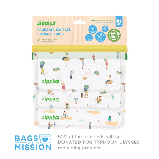 Zippies Green Vibes Series - Bags With A Mission (3pc Lay Flat Sampler Set | S,M,L)